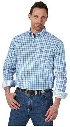 Wrangler George Strait Long Sleeve Plaid One-Pocket Button (Blue) Men's Clothing