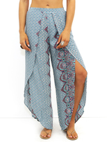 West Coast Wardrobe Gretchen Front Slit Gaucho Pants in Print