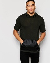Asos Knitted Hoody Tshirt with Leather Look Pocket