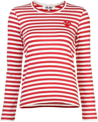 Comme des Garcons little red heart striped T-shirt