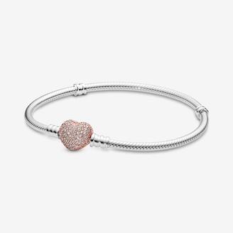 Pandora Moments Pave Heart Clasp Snake Chain Bracelet