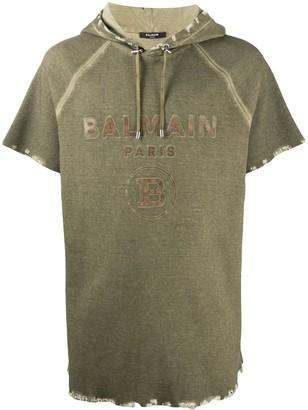 Balmain logo print hooded T-shirt