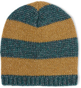 Gucci Metallic Striped Knitted Beanie - Gold