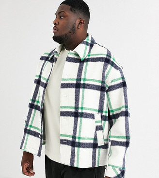 ASOS Plus wool mix coat in check