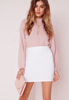 Missguided Petite Scuba Mini Skirt White