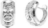 Sterling Silver Flower Diamond-Cut Huggie Earrings