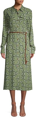 Lafayette 148 New York Mandalyn Belted Abstract Shirtdress