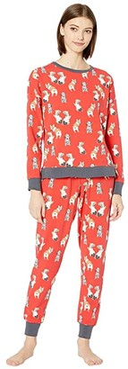 Bedhead Pajamas Long Sleeve Pullover Crew Jogger Set (Sweet Hearts) Women's Pajama Sets