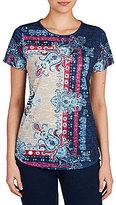 Allison Daley Wide Crew Neck Allover Bandana Print Knit Top