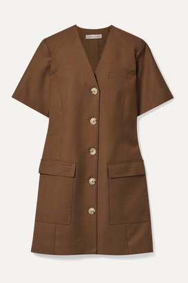 ANNA QUAN - Portia Twill Mini Dress - Brown