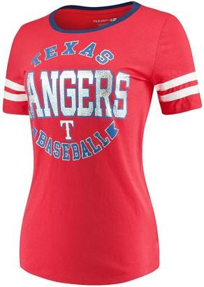 New Era Women's 5th & Ocean by Red Texas Rangers Slub Jersey Scoop Neck Sleeve Stripes T-Shirt