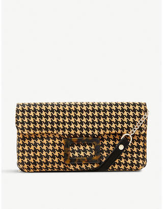 Dune Bromeo houndstooth-patterned leather clutch