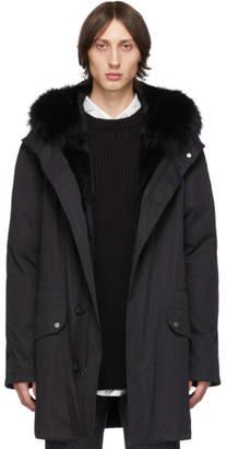 Yves Salomon Army Black Down and Fur Bachette Coat