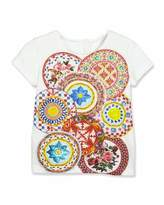 Dolce & Gabbana Mambo Plate Short-Sleeve Jersey Tee, Multicolor, Size 4-6