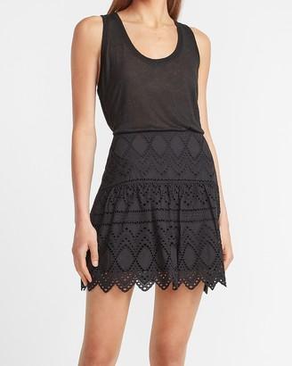Express High Waisted Eyelet Lace Mini Skirt