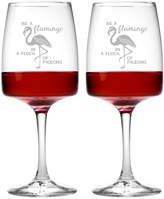 Susquehanna Glass Set Of 2 Be A Flamingo Goblets