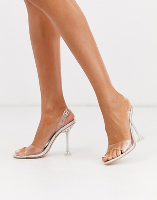Simmi Shoes Simmi London Elvie sling back statement heel shoes in silver