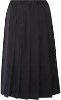 Comme des Garcons Pleated Wool-gabardine Skirt - Navy