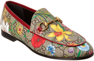 Gucci Jordaan Gg Flora Canvas & Leather Loafer