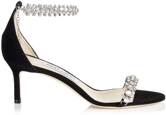 Jimmy Choo SHILOH 60 Black Suede Open Toe Sandals with Jewel Trim
