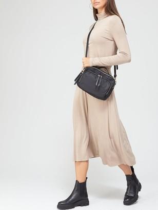 Very Long Sleeve High Neck Jersey Midi Dress - Mink