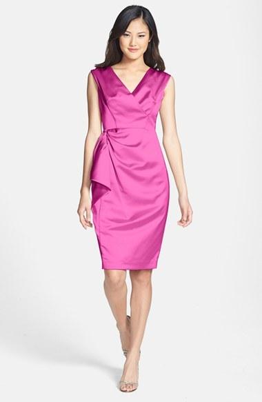 Maggy London Stretch Satin Sheath Dress (Regular & Petite)