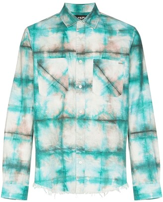 Amiri Watercolour Plaid-Print Shirt