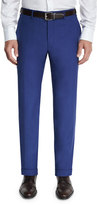 Canali Sienna Contemporary Flat-Front Trousers, Navy