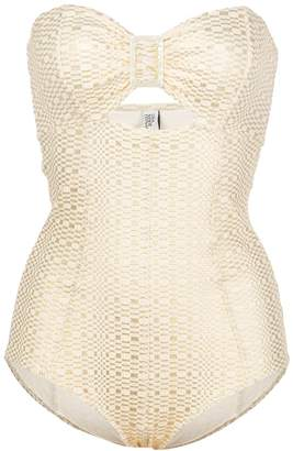 Lisa Marie Fernandez buckle bandeau maillot white and gold