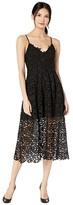 ASTR the Label Lace A-Line Midi Dress (Black) Women's Dress