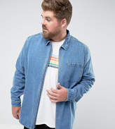 Asos PLUS Denim Overshirt With Zips In Mid Wash