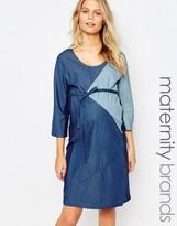 Mama Licious Mama.licious Mamalicious Patched Denim Dress