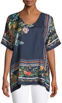 Johnny Was Rosanna Floral-Print Silk Top, Petite