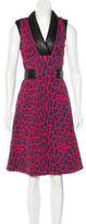 Christopher Kane Leather-Trimmed Leopard Print Dress