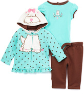 Buster Brown Turquoise & Brown Terrier Ruffle-Trim Hoodie Set - Infant