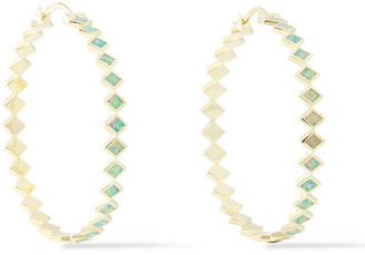Noir 14-karat Gold-plated Resin Hoop Earrings