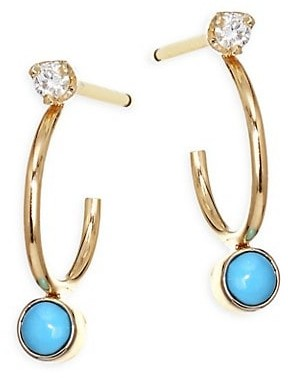 Zoë Chicco Diamond, Turquoise &14K Yellow Gold Huggie Hoop Earrings