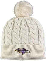 New Era Women's Cream Baltimore Ravens Paradigm Cuffed Knit Hat with Pom