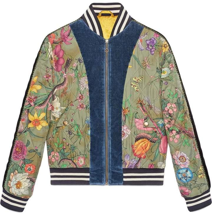 a6deb6143 Flora Snake print silk bomber jacket