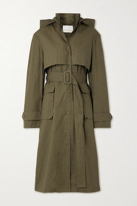REMAIN Birger Christensen Corinne Hooded Organic Cotton Trench Coat - Gray green