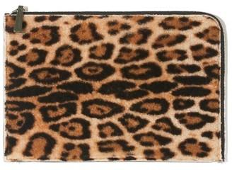 Yves Salomon Computer Handbag in Leopard/Ochre/Herbal