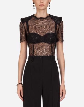 Dolce & Gabbana Short-Sleeved Lame Lace Top