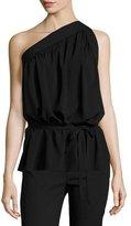 Helmut Lang One-Shoulder Silk-Blend Top, Black