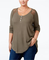 American Rag Trendy Plus Size Lace-Trim Henley, Only at Macy's