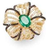 Effy Final Call Diamond, Emerald & 14K Yellow Gold Flower Ring