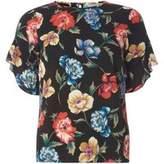 Dorothy Perkins Womens Petite Black Floral Ruffle Sleeve Blouse- Black