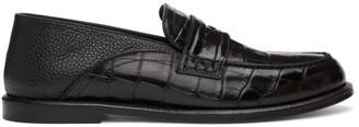 Loewe Black Croc Convertible Slip-On Loafers
