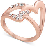 GUESS Rose Gold-Tone Crystal Double Heart Statement Ring