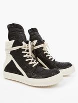 Rick Owens Black Jacquard Geobasket Sneakers