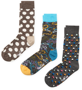 Happy Socks Polka Dots, Abstract and Diamond Socks (3 PK)